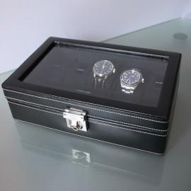 Coffret 10 montres Vitre et Cuir noir Friedrich
