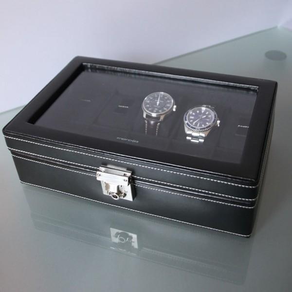 coffret 10 montres vitre et cuir noir friedrich boutique parisienne. Black Bedroom Furniture Sets. Home Design Ideas