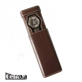 Etui en cuir marron pour 1 montre Geneva