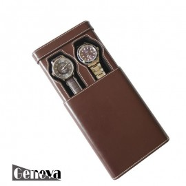 Etui en cuir marron pour 2 montres Geneva