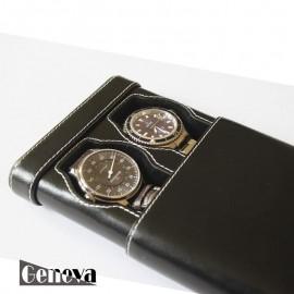 Etui en cuir noir pour 2 montres Geneva