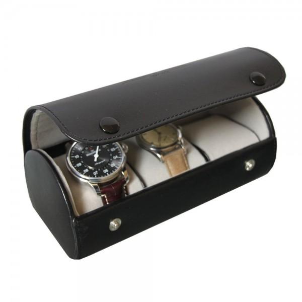 james3 roll cuir noir pour 3 montres boutique parisienne. Black Bedroom Furniture Sets. Home Design Ideas