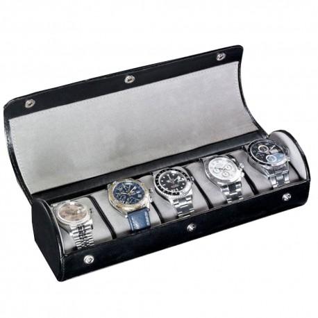 James5 Roll cuir noir pour 5 montres