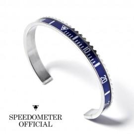Bracelet Speedometer Bleu et Inox Poli